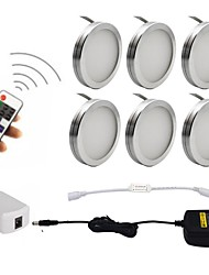 cheap -6PCS 2W Dimmable LED Under Cabinet Puck Lights with Wireless RF Remote Control for Furniture Lighting  85-265V