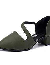 Women's Shoes PU Spring Summer Comfort Light Soles Heels Walking Shoes Low Heel Pointed Toe Buckle Button Split Joint Ruffles For Casual