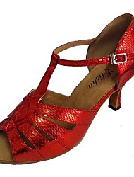 cheap -Women's Latin Shoes Synthetic Sandal Customized Heel Dance Shoes Black / Gold / Silver / Red / Indoor