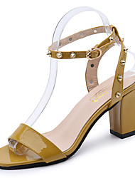 cheap -Women's Shoes PU Summer Comfort Sandals Low Heel Open Toe for Casual White Yellow Pink