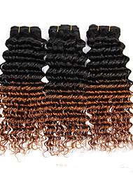 3pcs / 300g 12-24 polegadas sem processamento de cabelo humano virgem profundamente virgem brasileira de dois tons 1b / 30 # ombre cabelo