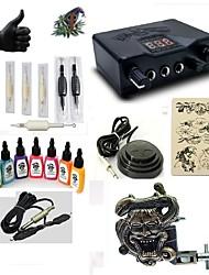 cheap -Starter Tattoo Kit 1 alloy machine liner & shader Tattoo Machine LED power supply 7 × 15ml Tattoo Ink 5 x disposable grip