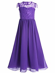 cheap -A-Line Floor Length Flower Girl Dress - Chiffon Short Sleeves Jewel Neck with Lace by Bflower