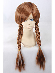Women Synthetic Wig Capless Long Curly Straight Light Brown Plait Hair Pixie Cut Cosplay Wigs Costume Wig