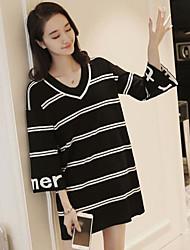 Недорогие -Для женщин На каждый день Простое Длинный Пуловер Полоски,V-образный вырез Длинный рукав Другое Лето Средняя Слабоэластичная