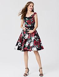 Corte en A Princesa Hasta la Rodilla Satén Fiesta de Cóctel Vestido con Lazo(s) Cinta / Lazo por TS Couture®