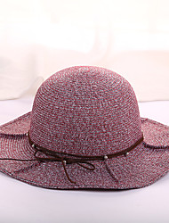 Для женщин На каждый день Мода Шляпа от солнца,Весна/осень Все сезоны Солома Контрастных цветов Чистый цвет