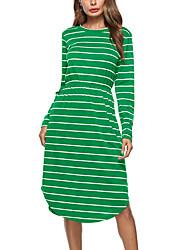 Damen T Shirt Kleid-Lässig/Alltäglich Ausgehen Einfach Street Schick Gestreift Rundhalsausschnitt Knielang Langarm Polyester Frühling