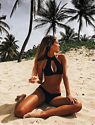 Women's Print Plunging Neckline Lace Up Halter Bikini Swimwear Black