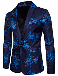 cheap -Men's Causal Club Casual Spring Summer Blazer,Print V Neck Long Sleeve Regular Cotton