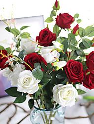 fiore di rosa flanella del bouquet artificiale per la decorazione domestica 5 ramo