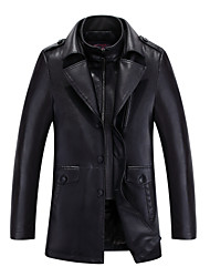 Men's Casual/Daily Street chic Winter Trench Coat,Solid Square Neck Long Sleeve Regular Lambskin