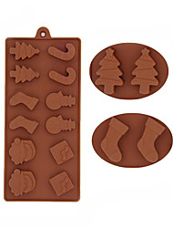 Недорогие -снеговик рождественские елки шоколадные силиконовые формы печенья пресс-формы помадный торт украшение