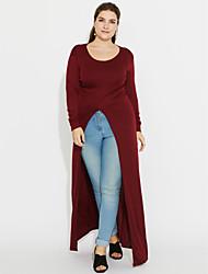 Tee-shirt Femme,Couleur Pleine Sortie / Grandes Tailles Sexy Printemps / Automne Manches Longues Col Arrondi Rouge / Noir / Gris Polyester