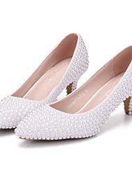 cheap -Women's Shoes Leather Spring Summer Comfort Novelty Wedding Shoes Pointed Toe for Wedding Party & Evening White