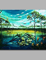 cheap -Hand-Painted Landscape Horizontal,Artistic Classic Style Nature Inspired Classic Classic & Timeless Birthday Modern/Contemporary
