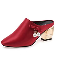 Women's Shoes PU Spring Comfort Clogs & Mules Chunky Heel Pointed Toe Pearl For Casual Red Gray Black