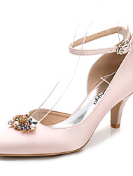 cheap -Women's Shoes Silk Spring / Fall Basic Pump / Ankle Strap Wedding Shoes Cone Heel Pointed Toe Rhinestone / Crystal / Sparkling Glitter