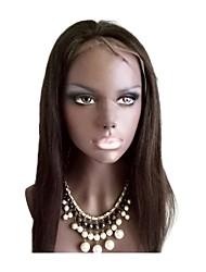 Women Human Hair Lace Wig Brazilian Human Hair Lace Front 130% Density Yaki Wig Dark Brown Black Short