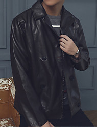 Men's Going out Casual/Daily Simple Fall Leather Jacket,Solid Shirt Collar Long Sleeve Regular PU