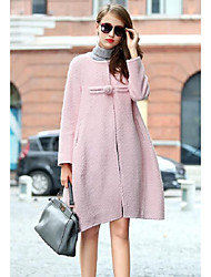 Women's Going out Simple Fall Winter Coat,Solid Round Neck Long Sleeve Regular Wool Cotton