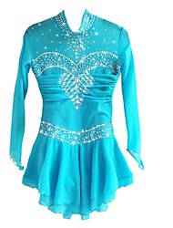 Figure Skating Dress Women's Girls' Ice Skating Dress Pale Blue Spandex Rhinestone High Elasticity Performance Skating Wear Handmade
