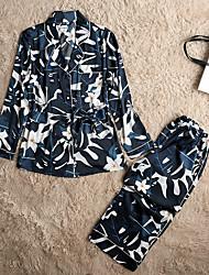 baratos -Mulheres Cetim Colarinho de Camisa Pijamas Floral
