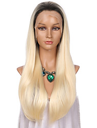 cheap -Women Synthetic Wig Lace Front Long Straight Blonde Ombre Hair Dark Roots Celebrity Wig Natural Wigs Costume Wig