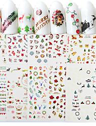 8 Autocollant d'art de clou Motif Accessoires Décoration artistique/Rétro 3D Noël Nouvel an Dessin-Animé Produits DIY Autocollant