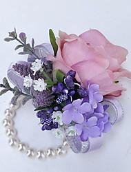 baratos -Bouquets de Noiva Buquê de Pulso Casamento Poliéster 3.94 polegada
