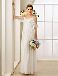 A-Line Princess Spaghetti Straps Floor Length Chiffon Wedding Dress with Bow(s) Ruching by LAN TING BRIDE®