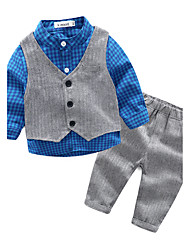 cheap -Baby Boys' Casual/Daily Lattice Clothing Set, 100% Cotton Spring/Fall Check Blue Orange Red Gray