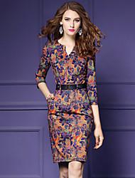 abordables -Femme Grandes Tailles Moulante Gaine Robe - Imprimé Col en V
