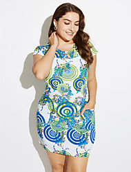 cheap -Brand Fashion  Women's Vintage / Casual / Day Floral Plus Size / Sheath Dress , Round Neck Knee-length