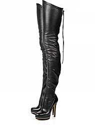 Feminino Sapatos Couro Ecológico Outono Inverno Botas da Moda Botas Salto Agulha Ponta Redonda Carregadores coxa-alta Ziper Para Festas &