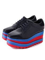 Women's Shoes PU Fall Light Soles Oxfords Flat Heel Round Toe Lace-up For Casual Dress Black White