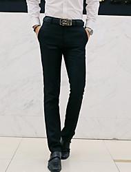Homme simple Taille Normale Micro-élastique Entreprise Pantalon,Ample Droite Couleur Pleine