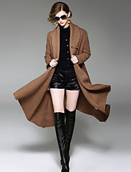 YHSP Women's Going out Casual/Daily Simple Street chic Sophisticated Winter CoatSolid Shawl Lapel Long Sleeve Long Wool Polyester