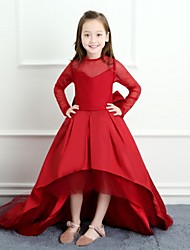 Ball Gown Asymmetrical Flower Girl Dress - Satin Tulle Long Sleeves Crew Neck with Bow(s) by LAN TING BRIDE®
