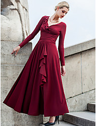 abordables -Femme Grandes Tailles Vacances Chic de Rue Balançoire Robe Couleur Pleine Taille Haute Col en V Maxi