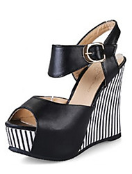 cheap -Women's Shoes PU Summer / Fall Novelty / Comfort Sandals Wedge Heel Peep Toe Buckle for Office & Career / Dress Black / Blue / Pink