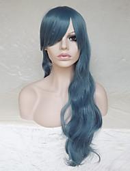 Donna Parrucche sintetiche Senza tappo Lungo Ondulati Onda riccia Blu Con frangia Parrucca naturale Parrucca per festa Parrucca di