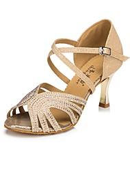 "Women's Latin Silk Sandal Heel Sneaker Indoor Sparkling Glitter Stiletto Heel Blue Gold 3"" - 3 3/4"" Customizable"