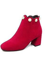 Feminino Sapatos Flocagem Outono Inverno Conforto Botas Salto Grosso Ponta quadrada Miçangas Ziper Para Preto Cinzento Vermelho