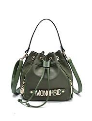 baratos -Mulheres Bolsas Fibra Sintética sacos de balde para Casual Todas as Estações Preto Verde Tropa
