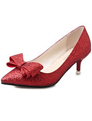 Women's Shoes Glitter Spring Fall Comfort Novelty Heels Stiletto Heel Pointed Toe Bowknot For Office & Career Dress Red Silver Black Gold