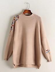 Standard Pullover Da donna-Per uscire Casual Semplice Romantico Tinta unita Con stampe Girocollo Manica lunga Cotone Altro Primavera