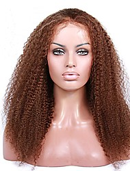 levne -Remy vlasy Se síťkou / Se síťovanou přední částí / Celokrajkové Paruka Brazilské vlasy Kinky Curly Dětské vlasy 130% / 150% / 180% Hustota Přírodní vlasová linie / 100% Panna / Nezpracované Dámské