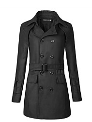cheap -Men's Street chic Plus Size Trench Coat - Solid Colored