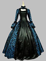 Une Pièce/Robes Gothique Doux Lolita Classique/Traditionnelle Punk Rétro Elégant Victorien Rococo Princesse Cosplay Vêtrements Lolita Bleu